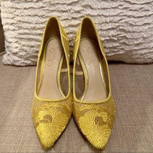 Yellow Jessica Simpson Floral Heels